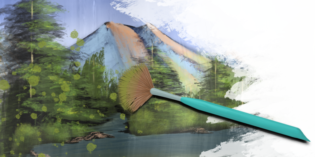 Image Description: Illustration shows a semi-abstract style mountains, lake and pine trees. A brush is shown painting.