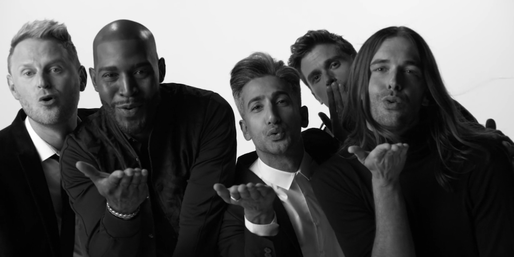 Via Netflix.com [Image description: Five beautiful men, the Fab 5, blow kisses to camera.]
