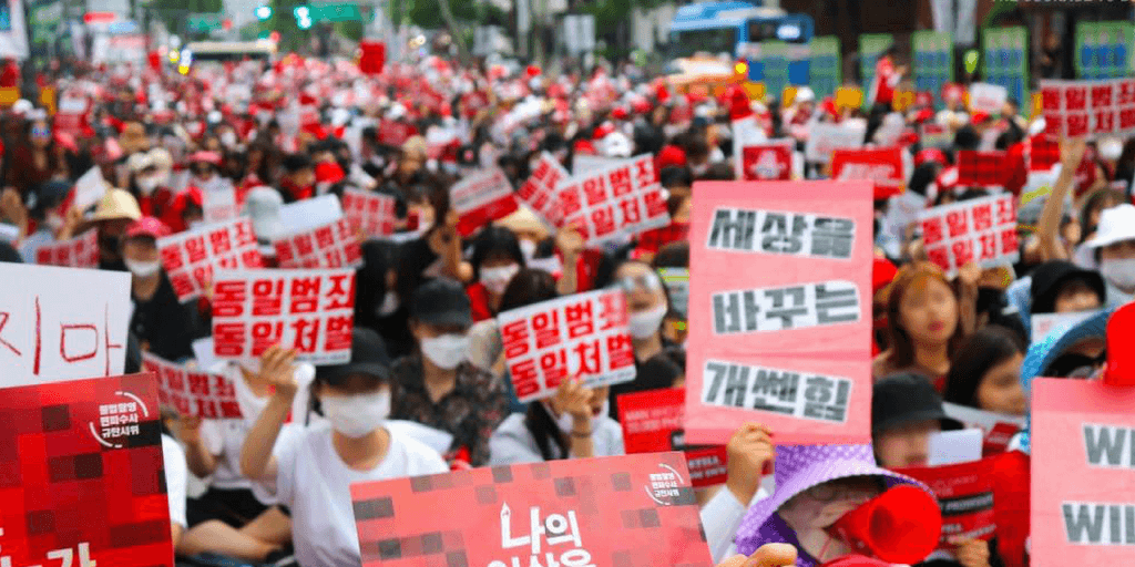 Women protest spy cam technology in historic march in Seoul