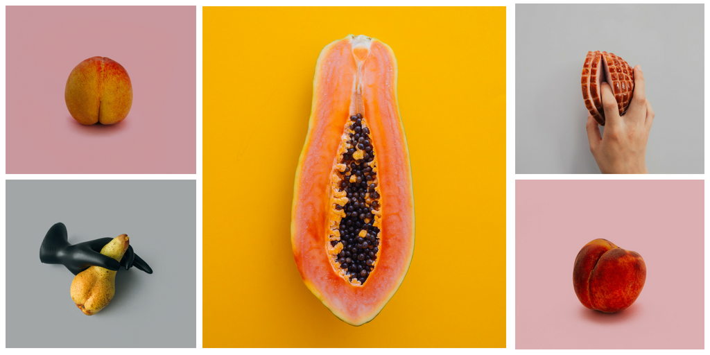 Image description: A grid showing a papaya, a peach, a pear and a piece of ham, all of them are arranged suggestively to look like they might be human genitalia.