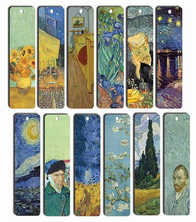 A set of 12 Vincent Van Gogh bookmarks featuring different depictions of the artist's works