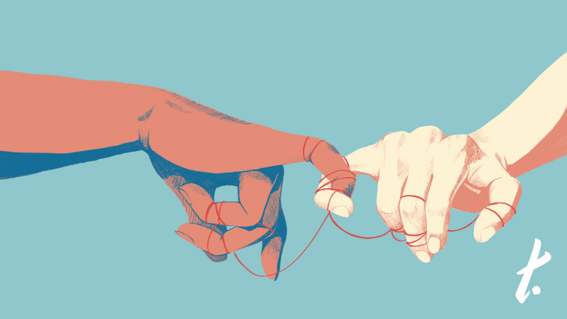 An illustration showing two different hands, intertwined with string and their pinkies.