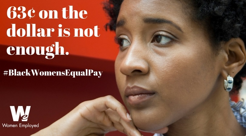 [Image description: A concerned black woman is visible from the neck up, with the 3¢ on the dollar is not enough. - Judy Miyashita]
