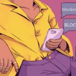 """Design Credit to Steffi Walthall, Property of The Tempest, Inc. / [Image description: A woman is sitting on a sofa, only her torso is visible and she is holding a phone. There are several message bubbles saying """"Blocked"""" """"Insta-blocked""""]"""