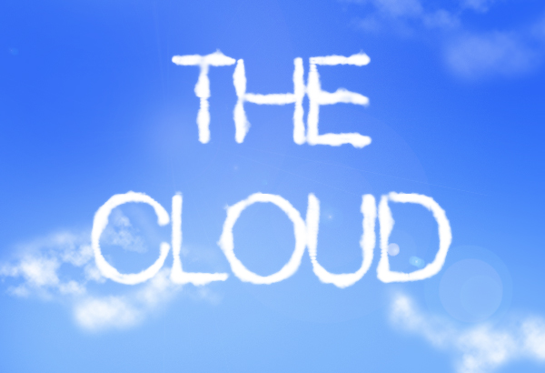 "[image description: blue sky with ""The Cloud"" written in clouds]"