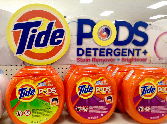 [image description: Tide Pods on a shelf]