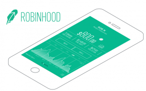"Green Feather next to ""RobinHood"" words above a smartphone outline with a green screen"