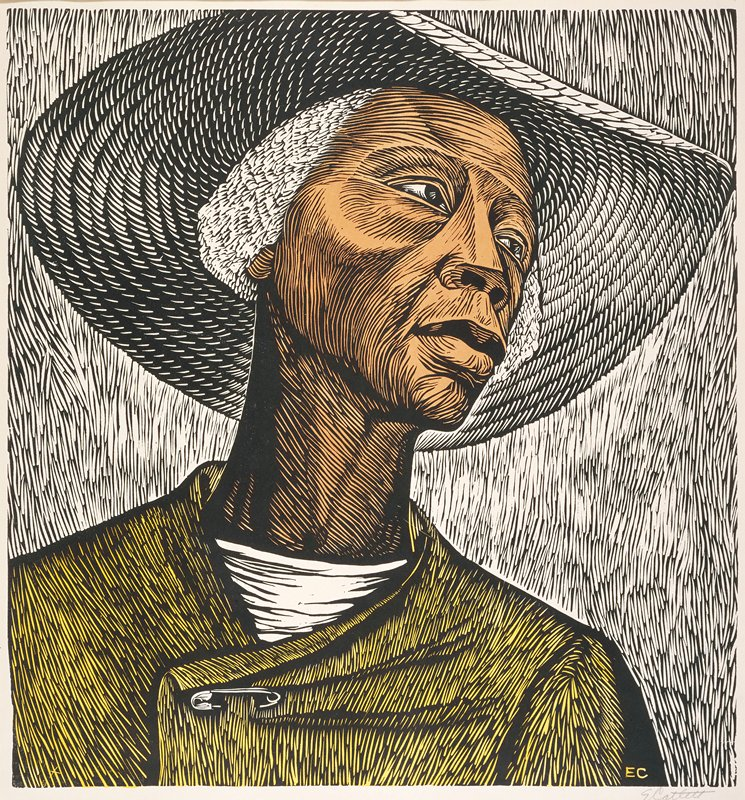 Mature Black woman with wizened face, white sunhat, white hair, and safety-pinned tunic staring resiliently into the distance