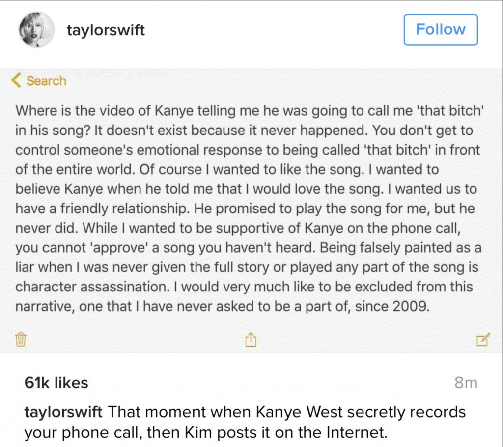 [Image description: Taylor Swift's note re: Kayne West]