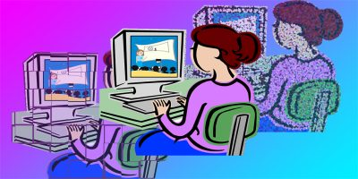 [Image description: clip art woman at computer with cyan and magenta gradient background]