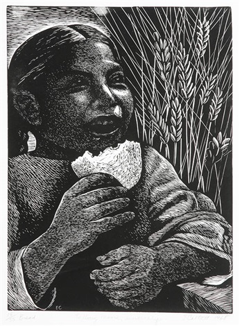 Young girl with braids holding bag and eating a piece of bread while smiling. Tall grain in background.