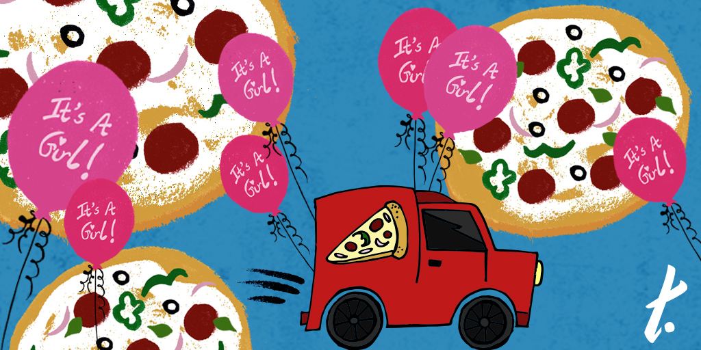 [Image Description: An illustration of a red pizza truck, with images of pizzas and pink balloons with the words 'It's a girl!' on them.]