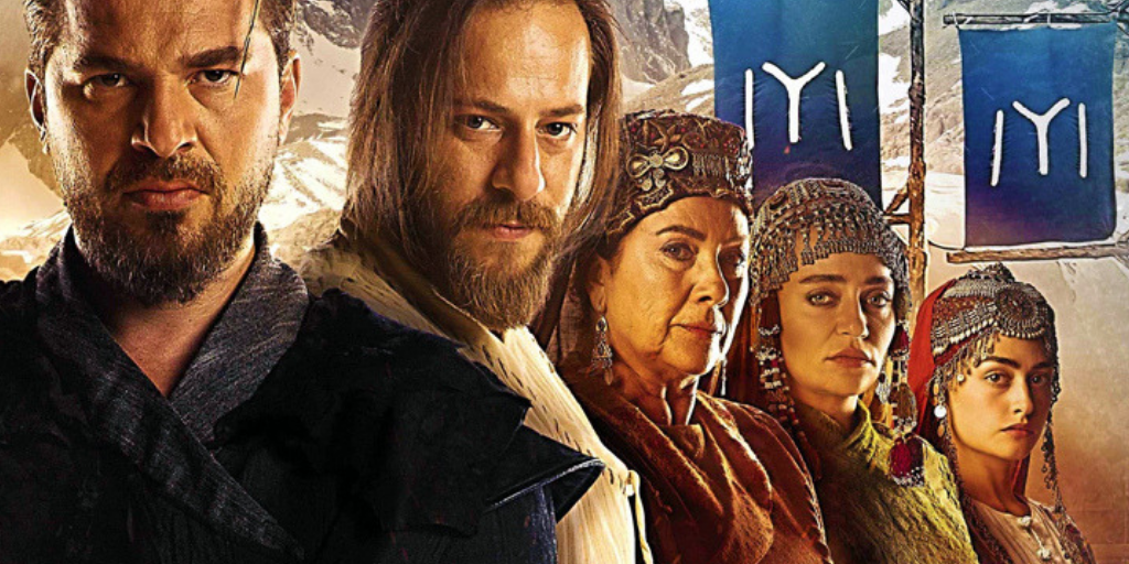 Netflix [Image description: The Turkish Ertuğrul and his brother, Gündoğdu, their bad ass mother, Hayme, Gündoğdu's wife Selcan and Ertuğrul's wife, Halime.]