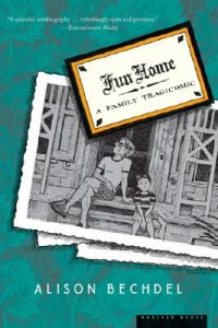 A drawing of a black and white photo with an adult male and a young child sitting on a porch. On top of the photo is a card captioned Fun Home: A Family Tragicomic