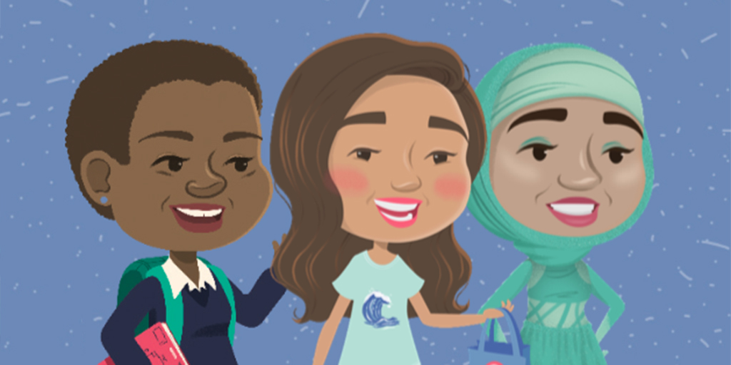 An illustration of three girls, one wears a school uniform, with short curly hair, the second wears a blue t shirt, with long brown hair and a third is wearing a teal figure skating outfit and hijab.