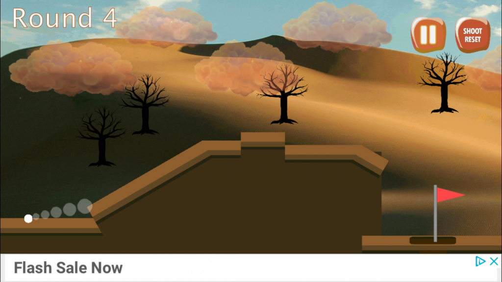 [image description: screenshot from desert golf game showing a ball, an obstacle and a hole with a desert background]
