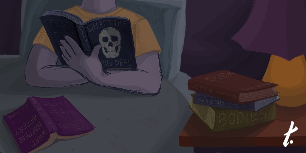 [Image Description: An illustration of someone sitting in bed, surrounded by books. They are seen from the neck down and are holding a book with a skull on it.]