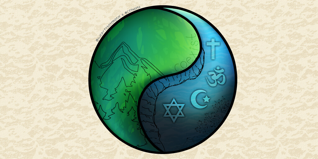 A circle divided by a curved line, one side shows a mountain and foreest in green and the other shows the symbols of Christianity, Hinduism, Islam and Judaism in blue.