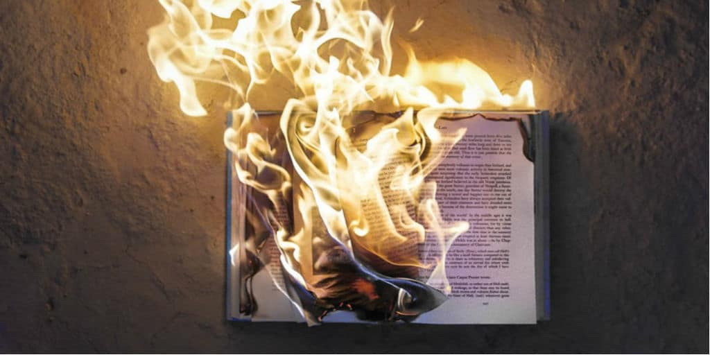 A picture of an open book on fire.