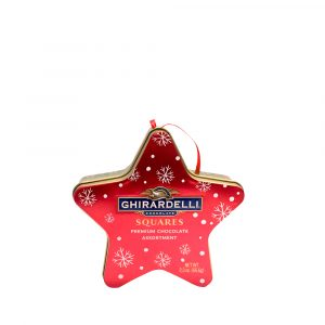 A red star-shaped tin of chocolates