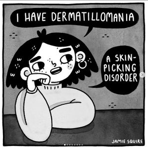 """A drawing of a person with long dark hair rests their head on their propped up arm and looks off in the distance to their left. They have two speech bubbles over and to the side of them that read """"I have dermatillomania. A skin-picking disorder]"""