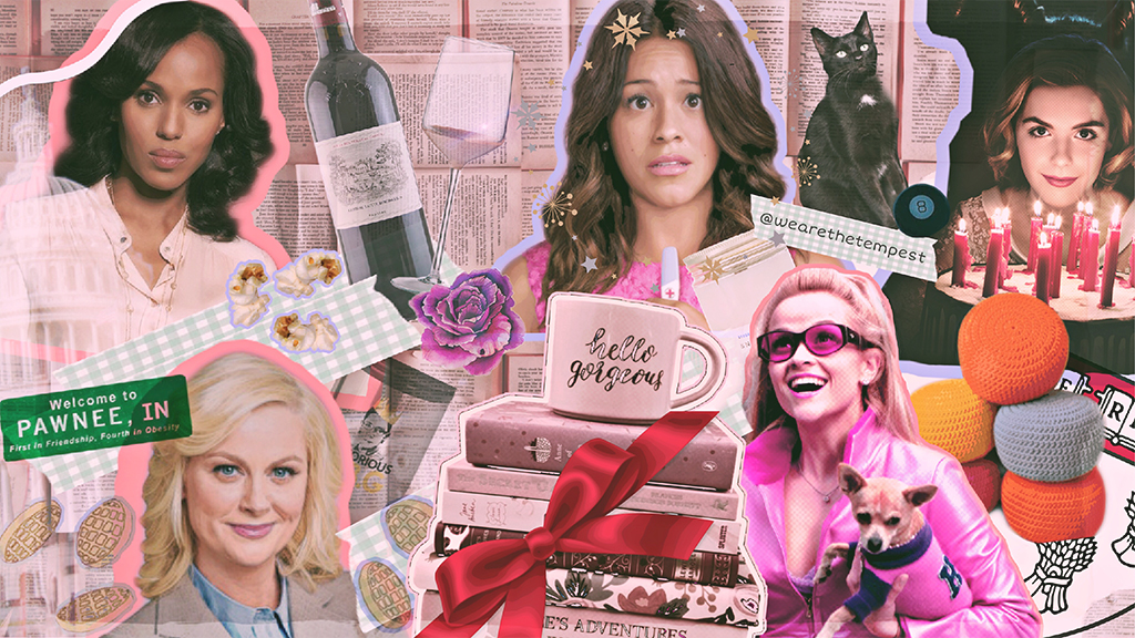 [Image description: A collage of images featuring characters from Scandal, Legally Blonde, Jane the Virgin and The Chilling Adventures of Sabrina with books, wine glasses, mugs. ]