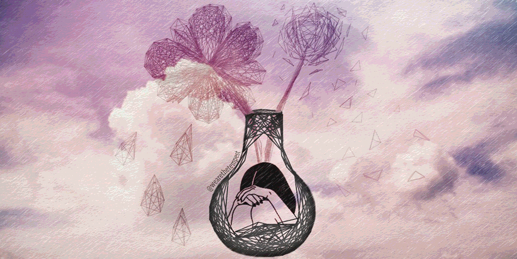 A drawing of someone crying in a vase. A flower and dandelion are placed in the vase.