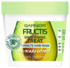 [Image description: Garnier Fructis Smoothing Treat in a green jar container.]