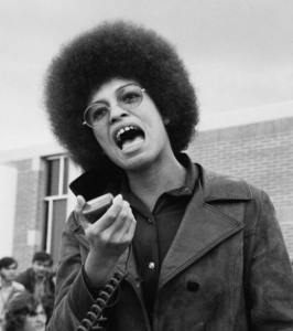 [Image description: a black and white image of Angela Davis wearing an afro and leather jacket giving a speech] via Instagram / @thegryarea