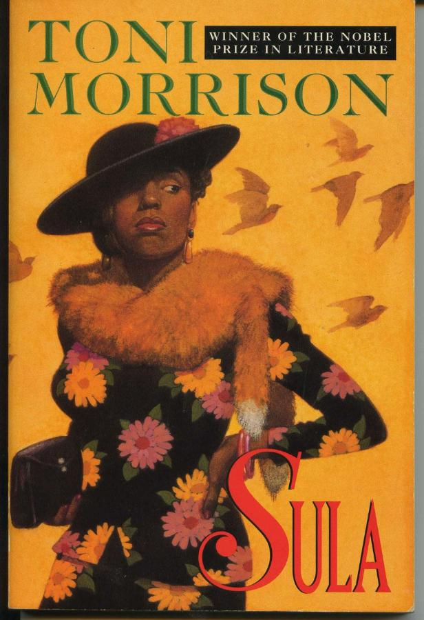 [Image description: Cover of Toni Morrison's Sula. A black woman dressed in a floral dress, fur stole and hat stands in front of a yellow background with birds taking flight behind her.]
