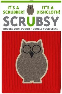 A picture of a dish cloth and scrubber that is in the shape of a brown owl wearing glasses