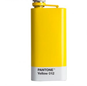 A yellow flask that says Pantone Yellow 12 along the bottom