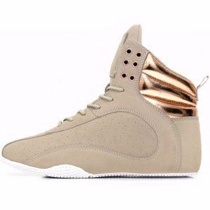 Brown weight lifting shoes with rose gold detailing