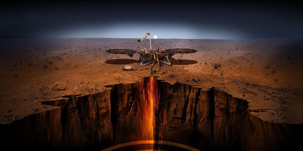An artist's rendering of the InSight Lander.