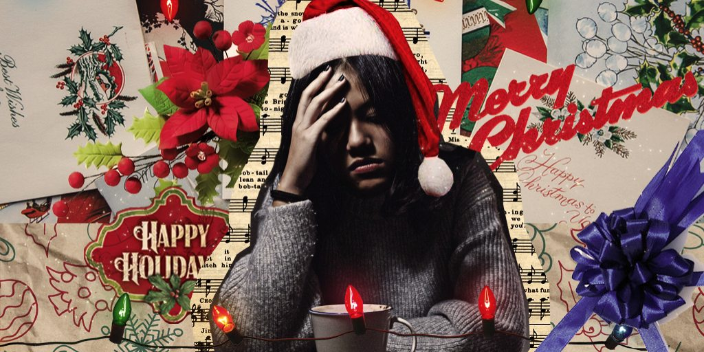 [Image description: A collage-style image showing an anxious person against a backdrop of Christmas decorations.] Design credit to Rebekah Lan / Property of The Tempest, Inc.