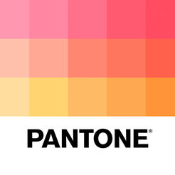 A block of colorful squares fading from pink to orange. Beneath it is the text Pantone