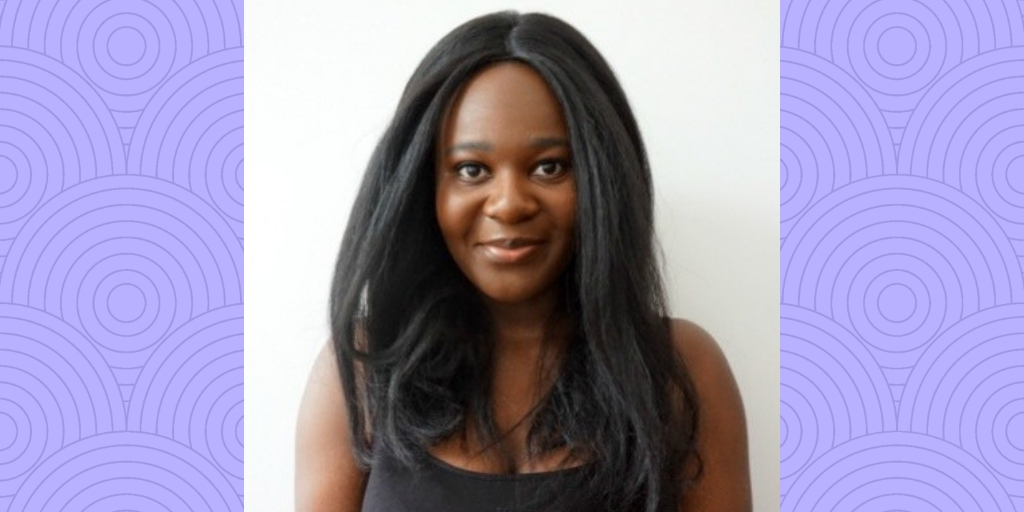Image of Joelle Owusu against a purple background with purple circles all over. She is smiling at the viewer, has long dark hair, and wears a black camisole