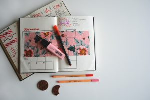 A bullet journal, open to February with the month's goals written at the top right. The page is decorated with pink hibiscus flowers and has a pen and pink highlighter resting on top of it]