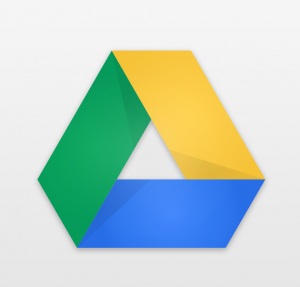 The Google Drive logo, a yellow, blue, and green triangle made from a mobius strip