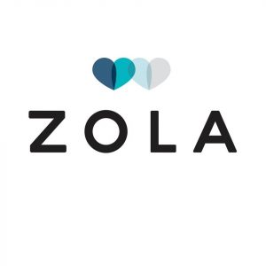 The Zola logo featuring the text Zola in black font with two blue and grey hearts intersection over it