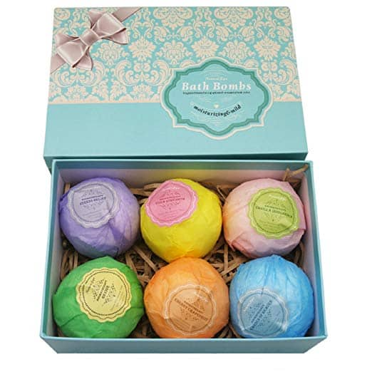 A set of six colorful bath bombs wrapped up prettily.