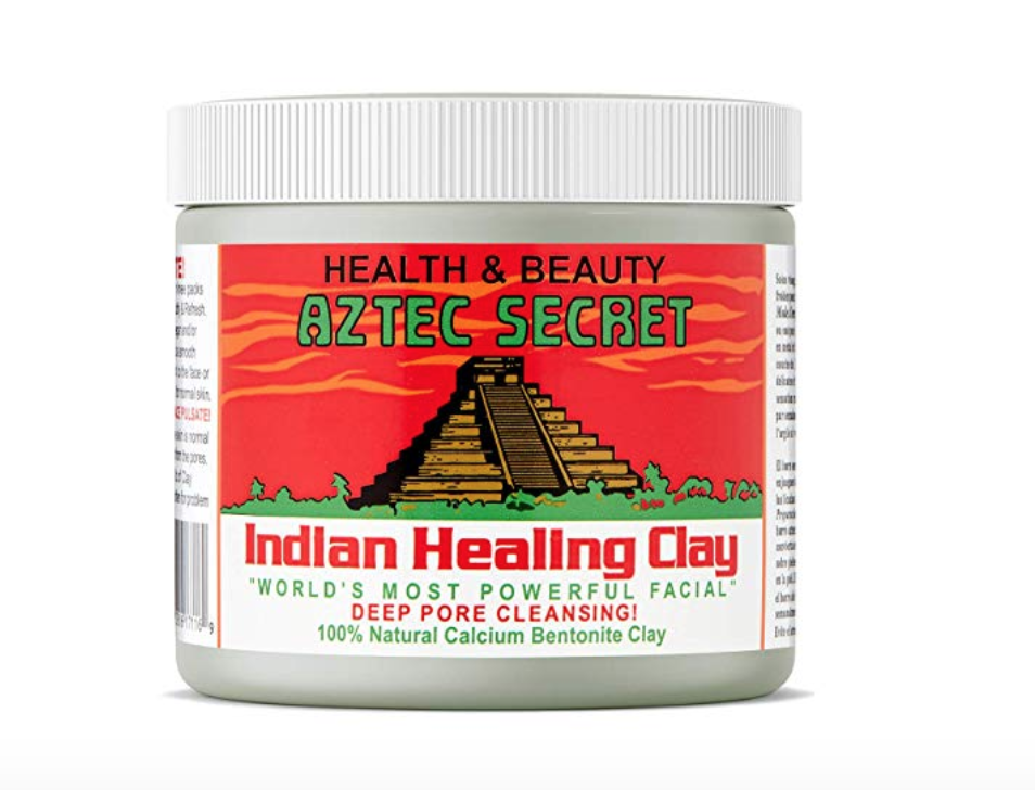 [Image Description: Cylinder container of Aztec Secret, Indian Healing Clay beauty mask powder Product label is in red and green writing.] Photo via Amazon