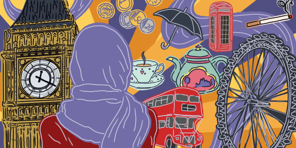 A collage incorporating different aspects of Sophia. There is a woman wearing a hijab, surrounded by a double decker bus, a red telephone booth, the Big Ben, a ferris wheel, tea, and little pound coins. These are all aspects that make up Sophia's life in London. The collage is displayed on a swirly purple and orange background