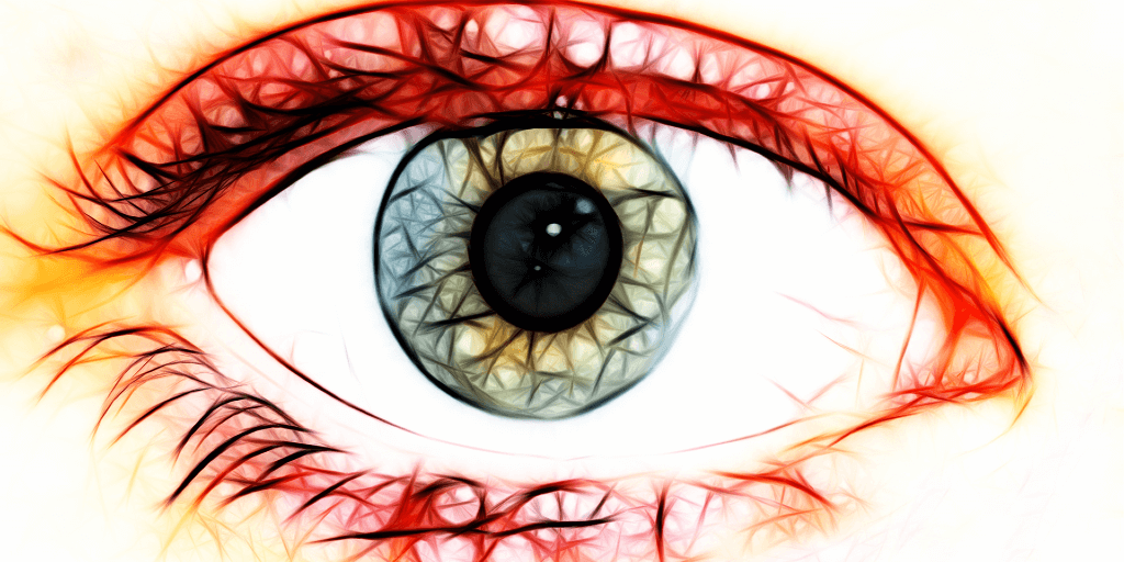 The image shows a colored sketch of an eye with a blue-green iris.