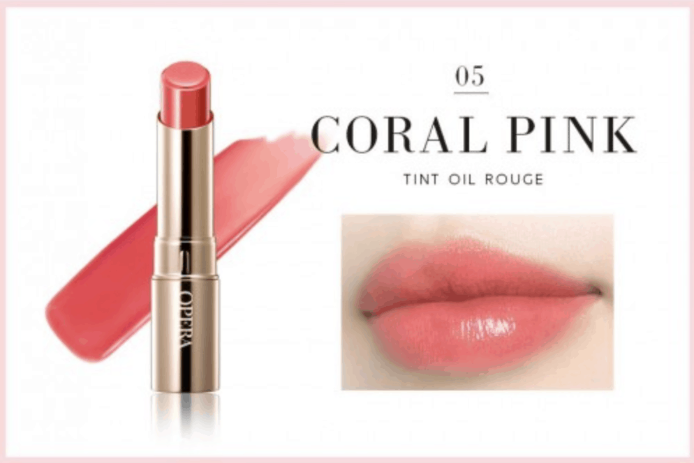 A thin, golden tube of Opera's Coral Pink is shown next to a swatch and a set of applied lips.