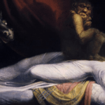 [Image description: The image is of a painting. It shows a woman in a white dress, splayed out over her bed. A dark, demonic being sits on her as she sleeps.] Via Henry Fuseli on Wikipedia