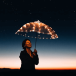 A smiling woman holding up an umbrella with fairylights, underneath the nigh sky. Like stardust.
