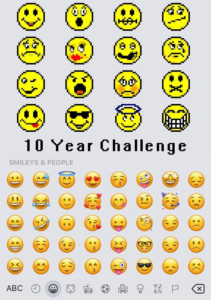 The text '10 Year Challenge' is placed in between two images. The one atop shows a bunch of pixelated facial emojis. The one underneath shows far more diverse, better-quality emojis.
