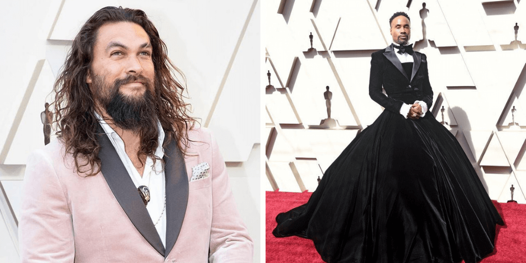 [image description: a montage of Red Carpet images. On the right, a close up of Jason Momoa. On the left, Billy Porter in a black tuxedo-gown]