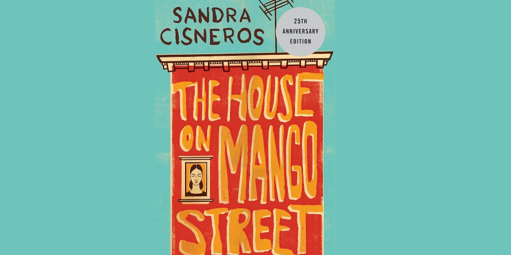 The cover for Sandra Cisneros's 'The House on Mango Street', which depicts a red building on a turquoise background.